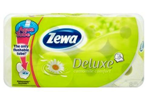 Zewa Deluxe Aqua Tube Camomile Comfort parfémovaný toaletní papír 3 vrstvý 150 útržků 8 kusů, rolička, kterou můžete spláchnout Toaletní papír