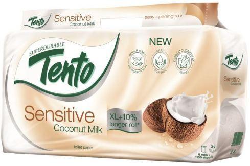 Tento Sensitive Coconut Milk s kokosovým mlékem parfémovaný toaletní papír 3vrstvý 8 rolí Toaletní papír