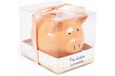 Albi Pokladnička prasátko malé Pro skvělou kamarádku oranžová 7 cm × 6,5 cm × 7,3 cm Pokladničky