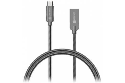 Connect IT Wirez Steel Knight USB/micro USB, ocelový, opletený, 1m (CCA-3010-AN) Data příslušenství