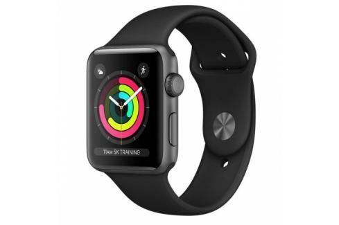 Apple GPS 38mm pouzdro z vesmírně šedého hliníku - černý sportovní řemínek (MQKV2CN/A) Chytré hodinky