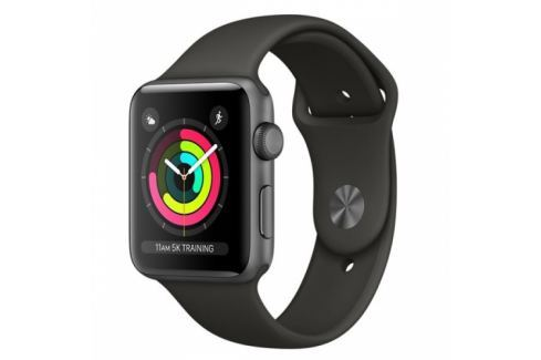 Apple GPS 42mm pouzdro z vesmírně šedého hliníku - šedý sportovní řemínek (MR362CN/A) Chytré hodinky