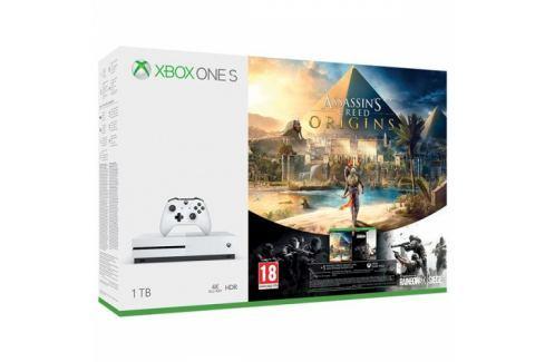 Microsoft 1 TB + Assassin's Creed: Origins + Rainbow Six: Siege; 14 denní Xbox LIVE GOLD 1 měsíční Xbox Game Pass (234-00235) XBOX